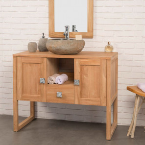Thea solid teak bathroom vanity unit 100 cm