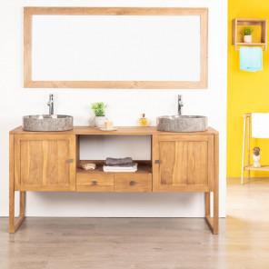 Thea solid teak double-sink vanity unit 165 cm