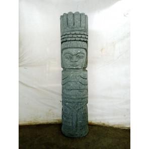 Tiki de Oceanía de piedra volcánica exterior zen 60cm