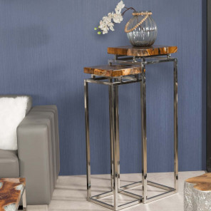 Tokyo teak and stainless steel nested tables