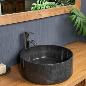 Ulysse large round black countertop sink 40 cm