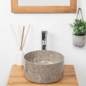 Ulysse round grey marble bathroom sink 30 cm
