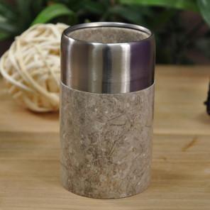 Vaso para cuarto de baño de mármol y acero inoxidable gris