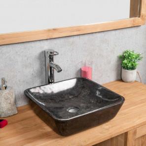 vasque à poser en marbre Carmen carré 40cm noire