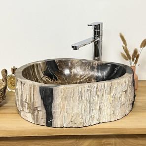 Vasque de salle de bain à poser en bois pétrifié fossilisé intérieur noir 40 CM