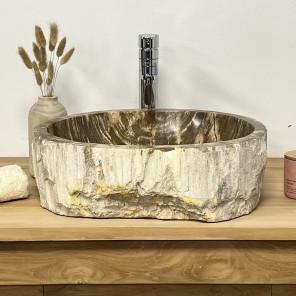 Vasque de salle de bain en bois pétrifié fossilisé marron 55 cm
