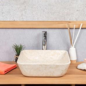 vasque salle de bain carré en marbre Carmen 40 cm crème