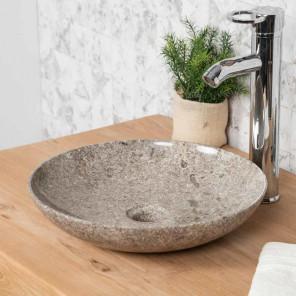 vasque salle de bain en marbre à poser LYSOM 35 CM gris
