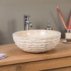 Vasque salle de bain en marbre à poser VESUVE crème 40cm
