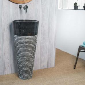 Vasque salle de bain sur pied en pierre FLORENCE noir