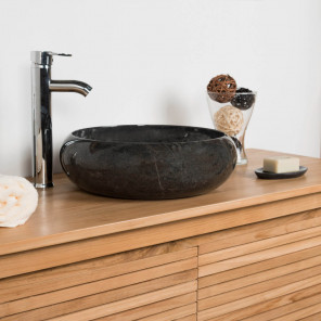 Venice black round marble countertop bathroom sink