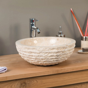 Vesuvius cream marble countertop sink 40 cm
