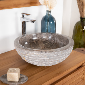 Vesuvius taupe grey stone bathroom sink