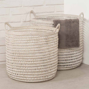 Wicker storage baskets x 2