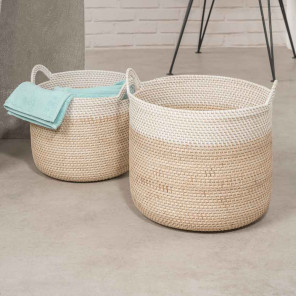 Woven basketwork baskets x 2