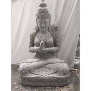 Zen Balinese goddess flower stone garden statue 120 cm