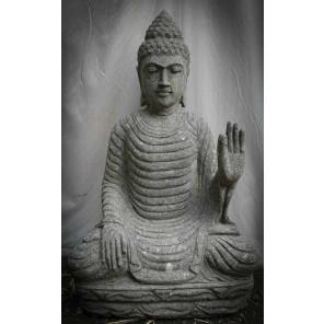Zen outdoor volcanic rock seated Buddha chakra pose 80 cm