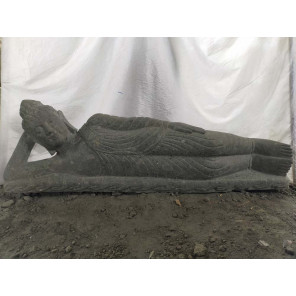 Zen reclining Buddha outdoor volcanic solid rock statue 150 cm