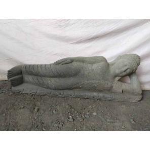 Zen reclining Buddha volcanic rock statue 1 m