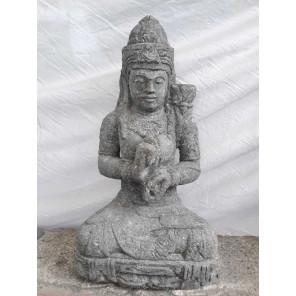 Zen seated goddess flower stone garden statue 80 cm
