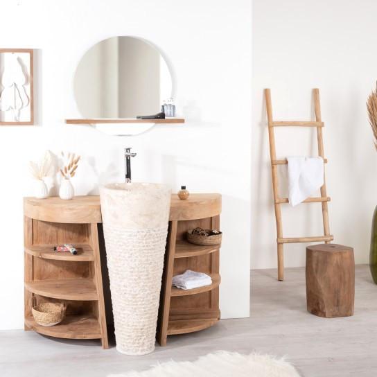 Meuble de salon en teck et en bois massif pour salle de for Meubles salle de bain en teck massif