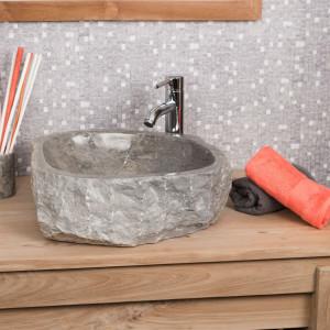 lavabo sobre encimera grande para cuarto de baño ROCA de mármol gris