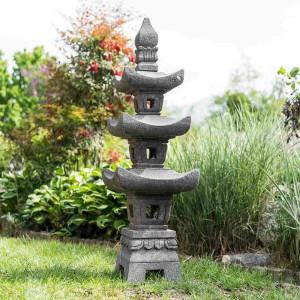 Linterna japonesa pagoda de piedra de lava 1,10 m