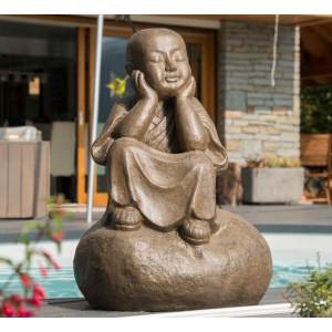 Statue moine Shaolin pensif brun