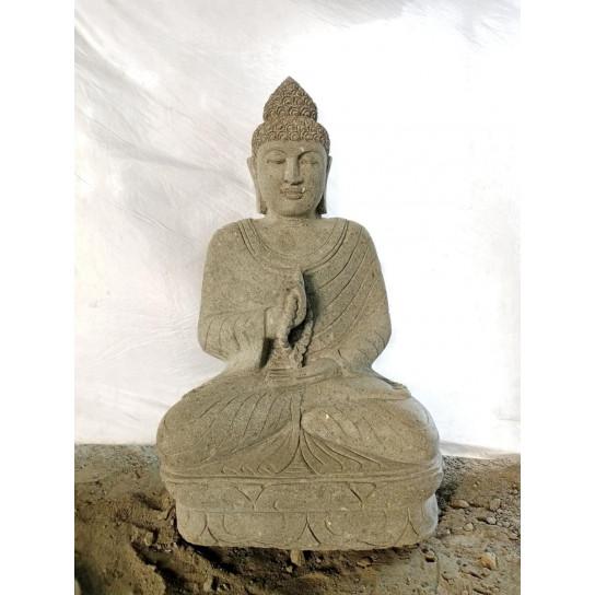 Buda de piedra en posición chakra y mala para jardín 1 m