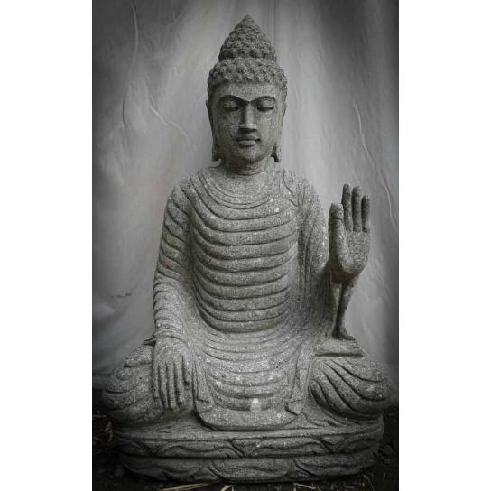 Buda sentado de piedra volcánica posición chakra exterior zen 80 cm
