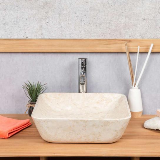 Carmen square cream marble bathroom sink 40 cm
