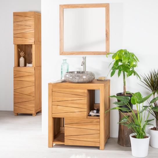 Cosy solid teak bathroom vanity unit 70 cm