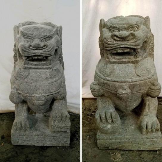 Deux Statues jardin chien Fu Foo lion pierre volcanique 65 cm