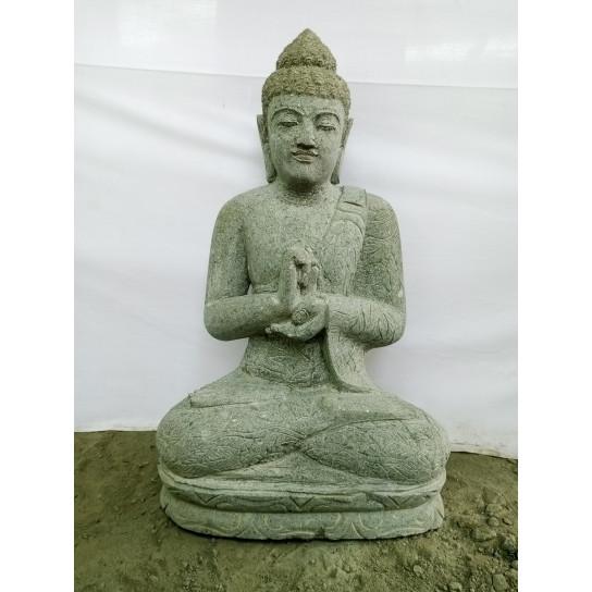 Escultura zen Buda sentado de piedra volcánica posición Chakra 80 cm