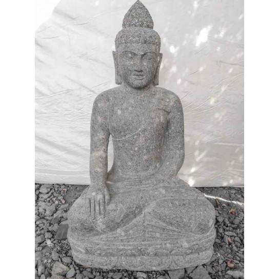 Estatua de Buda de piedra volcánica en posición de ofrenda 1 m
