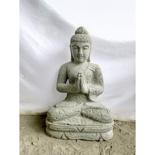 Estatua de Buda sentado de piedra volcánica posición de rezo 50cm