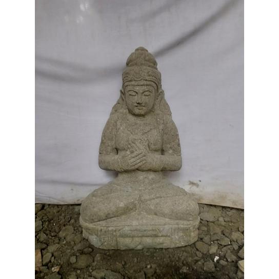 Estatua de jardín de piedra natural diosa sentada 1m20
