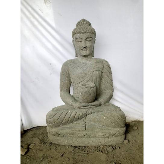 Estatua de jardín zen Buda piedra ofrenda bol 1 m