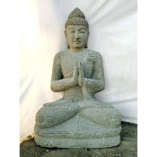 Estatua de piedra Buda jardín zen posición rezo 1 m