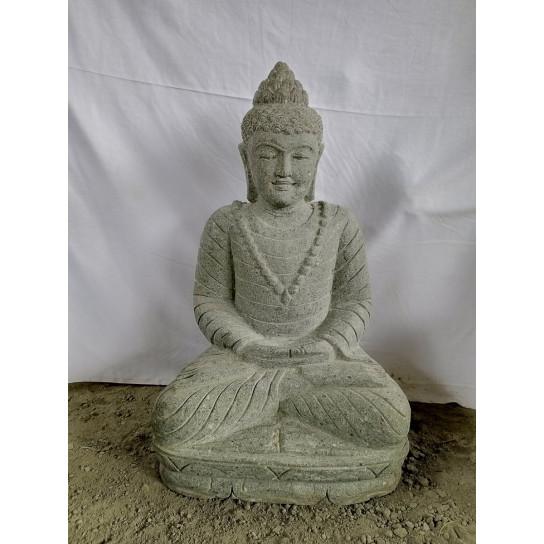 Estatua jardín zen Buda sentado posición meditación piedra volcánica 80 cm