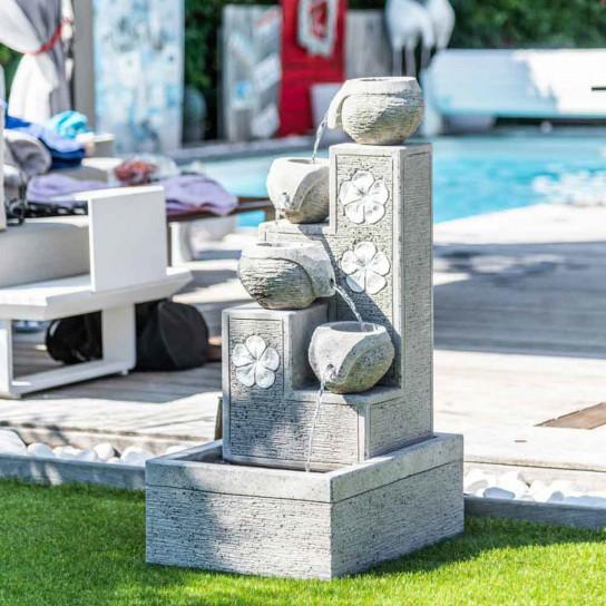 Fuente de jardín cascada 4 copas 90 cm