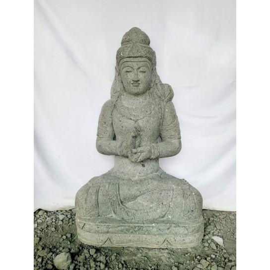 Grande Statue de jardin zen déesse balinaise en pierre 1m