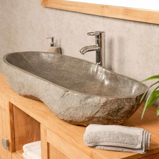 vasque galet pierre de rivière 100
