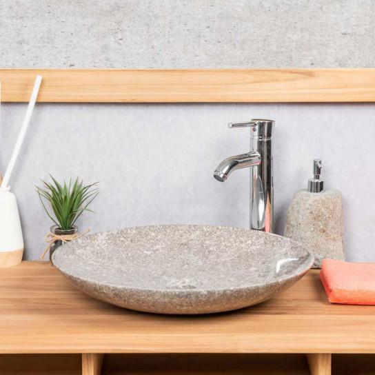 Grande vasque ronde en marbre salle de bain Lysom 45 gris