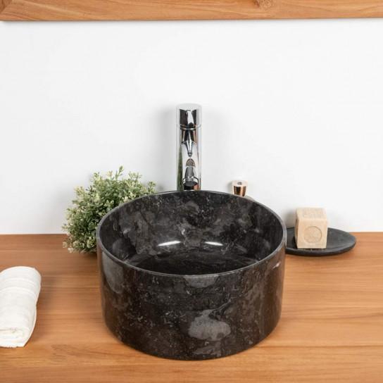 Lavabo en marbre salle de bain Ulysse 30 cm noir