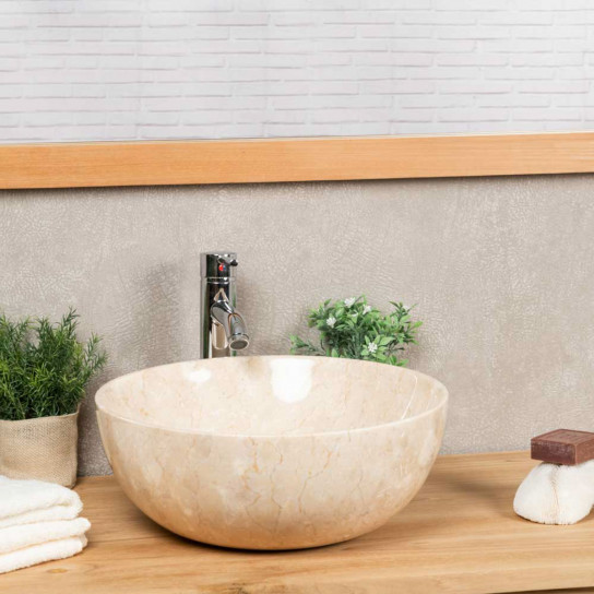 Lea round cream countertop bathroom sink 40 cm