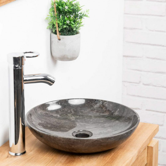 Lysom round black marble countertop sink 35 cm