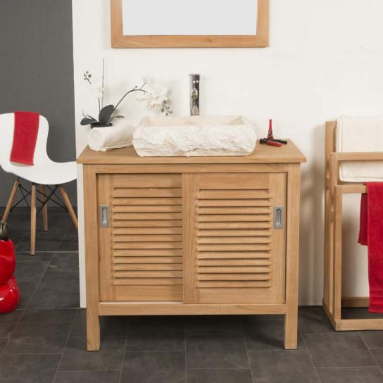 meuble de salle de bain en teck TEMPO 90 CM