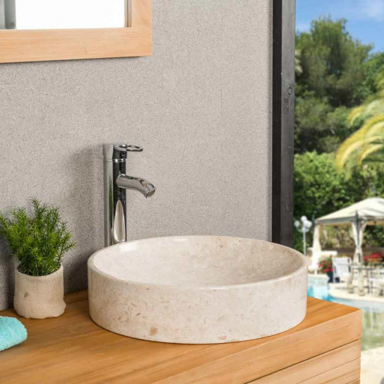 Mino large cream marble countertop sink 42 cm