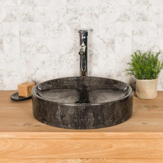 Mino large round black countertop sink 42 cm